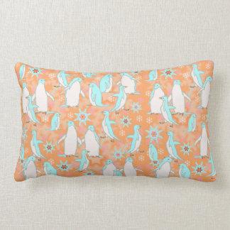 Penguins & Snowflakes in Orange & Light Blue Lumbar Pillow