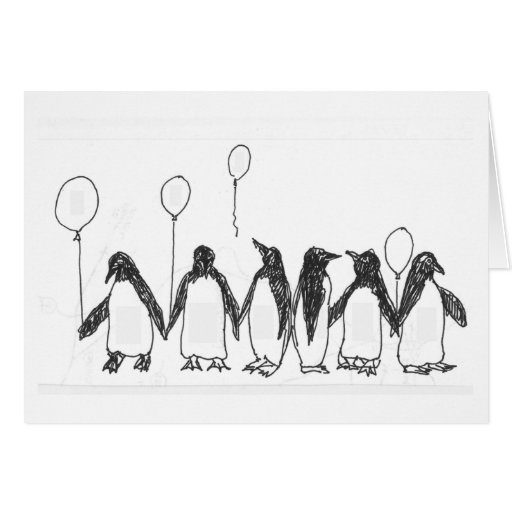 Penguins with birthday balloons greeting card