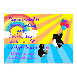 Penguins with ice cream and balloons invitation