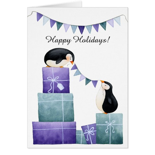 Penguins with Purple and Teal Christmas Presents Card