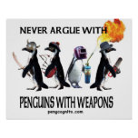 penguins with weapons print