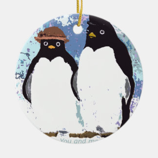 Penguins You and Me Standing the Test of Time Round Ceramic Ornament