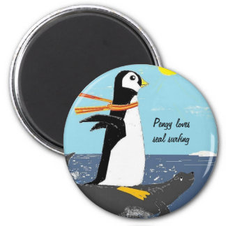 Pengy Seal Surfing Refrigerator Magnets