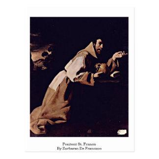 Penitent St. Francis By Zurbaran De Francisco Postcard