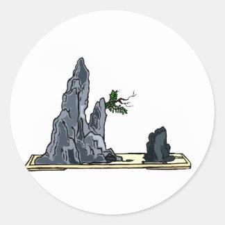 Penjing bonsai graphic image design 1 classic round sticker
