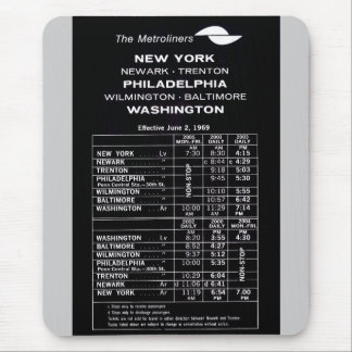 Penn Central Railroad Metroliner Timetable Mouse Pad