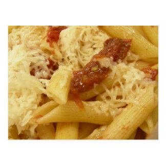 Penne pasta, tomatoes & cheese postcard