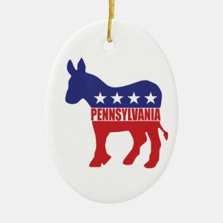 Pennsylvania Democrat Donkey Ceramic Ornament