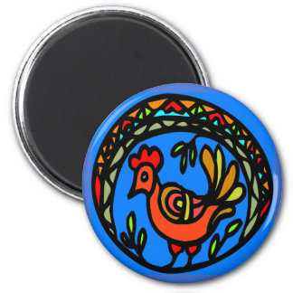 Pennsylvania Dutch Hex red Rooster Magnet
