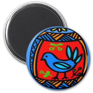 Pennsylvania Dutch Hex Sign Blue Bird Magnet