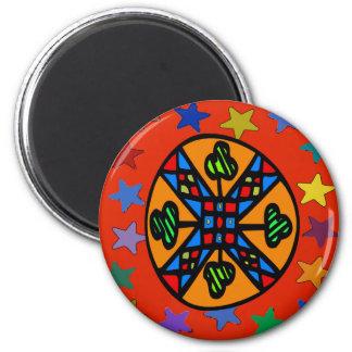 Pennsylvania Dutch Hex Sign Shamrock Star Magnet