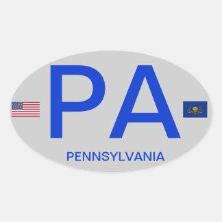 Pennsylvania* Euro Style Oval Sticker