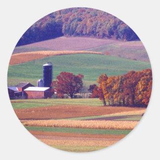 Pennsylvania Farm in Autumn Round Sticker