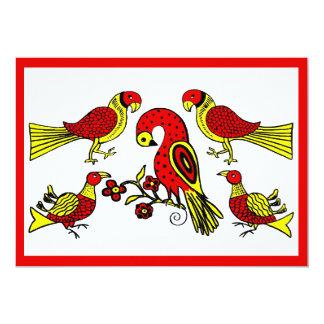 Pennsylvania German folk art birds barn wedding Card