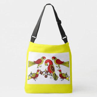 Pennsylvania German folk art birds print Crossbody Bag