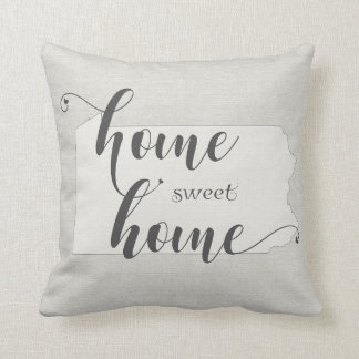 Pennsylvania  - Home Sweet Home burlap-look Throw Pillow