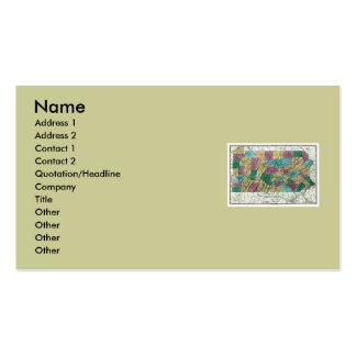 Pennsylvania Map and State Flag Business Card