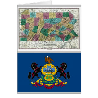 Pennsylvania Map and State Flag Card
