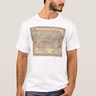 Pennsylvania Map by Mitchell T-Shirt