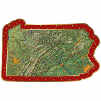 Pennsylvania Map Christmas Ornament Cut Out