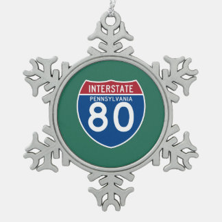 Pennsylvania PA I-80 Interstate Highway Shield - Pewter Snowflake Ornament