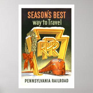 Pennsylvania PA Railroad US USA Vintage Travel Poster