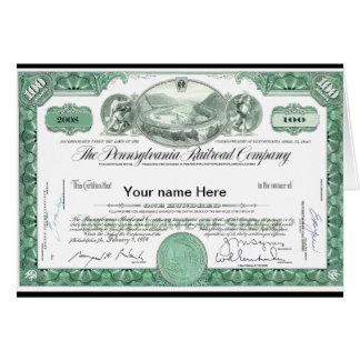 Pennsylvania Railroad CUSTOM Stock Certificate Card