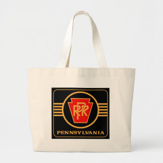 Pennsylvania Railroad Keystone, Black & Gold Large Tote Bag