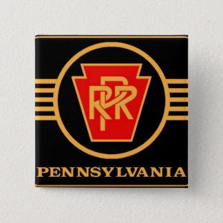 Pennsylvania Railroad Logo, Black & Gold 2 Inch Square Button