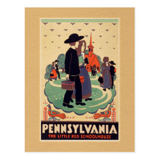 Pennsylvania Red Schoolhouse Vintage Postcard