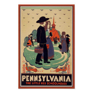 Pennsylvania Red Schoolhouse Vintage Poster