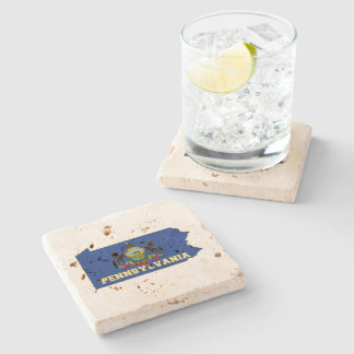 Pennsylvania State Flag and Map Stone Coaster