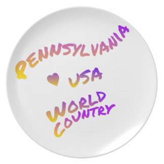 Pennsylvania world country, colorful text art plate