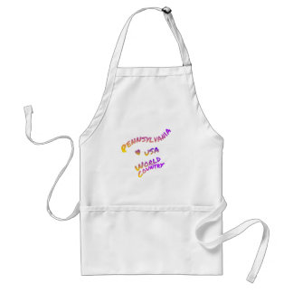 Pennsylvania world country, colorful text art standard apron