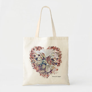 Penny & Copper Morkie heart shaped design tote bag
