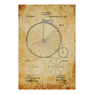 Penny Farthing Bicycle Blueprint Poster