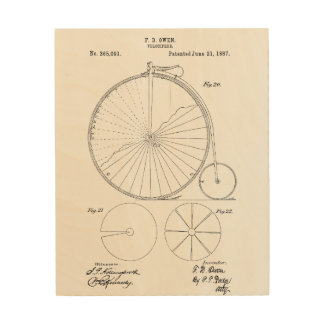 Penny Farthing Bicycle Blueprint Wood Wall Decor