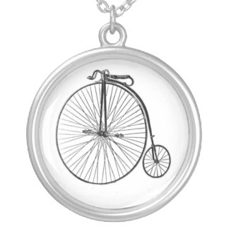 Penny Farthing Round Pendant Necklace