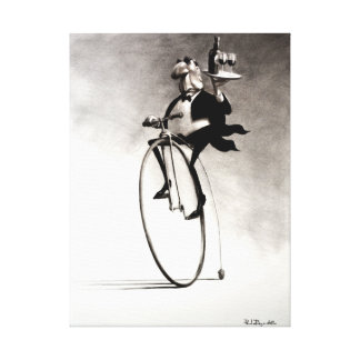 Penny Farthing Wine Waiter Canvas Print