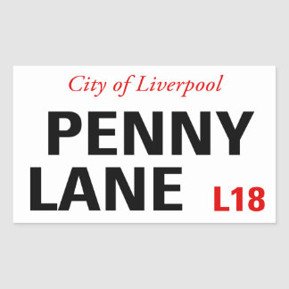 Penny Lane Sign (pack of 4) Sticker