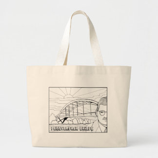 Pennybacker Bridge Line Art Design Large Tote Bag