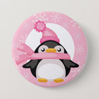Penquin and Snowflakes 3 Inch Round Button