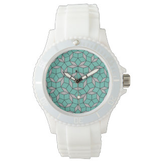 Penrose tiling pattern rounded, gray turquoise watch