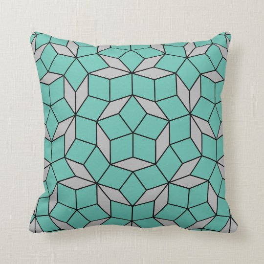 Penrose tiling pattern rounded, grey turquoise throw pillow