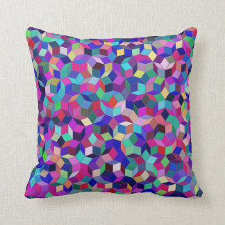 Penrose Tiling Throw Pillow (Blue/Magenta)