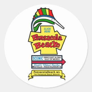 "Pensacola Beach Sign 3"" Stickers"