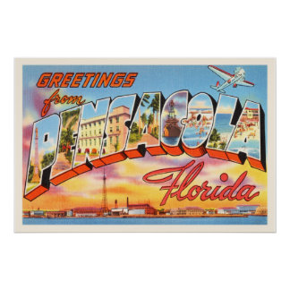 Pensacola Florida FL Old Vintage Travel Souvenir Poster