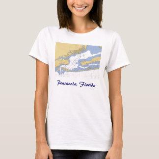 Pensacola, Florida Nautical harbor chart T-shirt