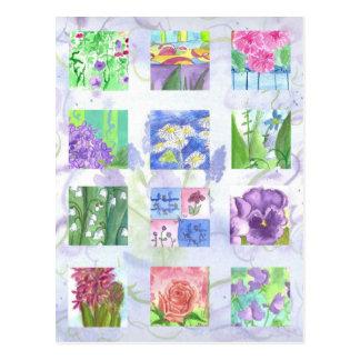 Pensées de lilas de rose de rose de collage de carte postale