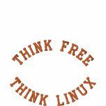 Pensez librement, pensez Linux Polo Brodé